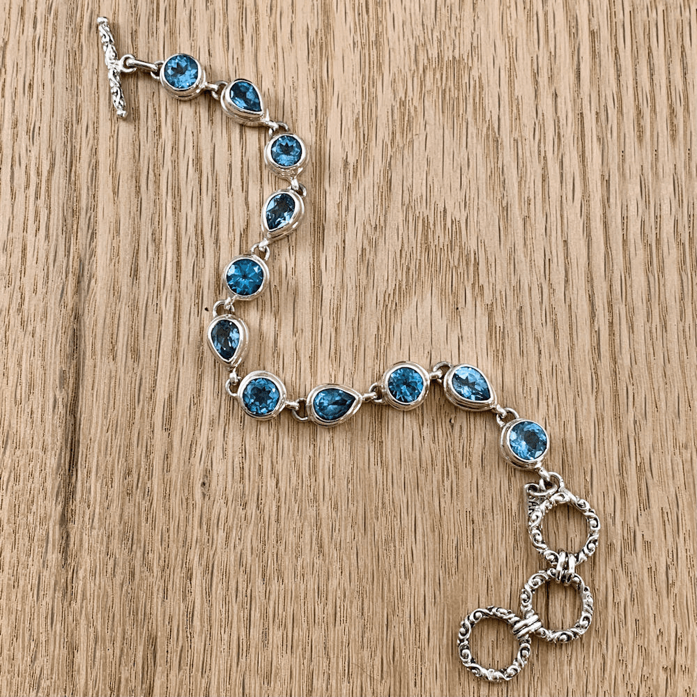 Blue Topaz Round and Teardrop Bracelet