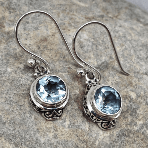 Blue Topaz Round Filigree Dangles