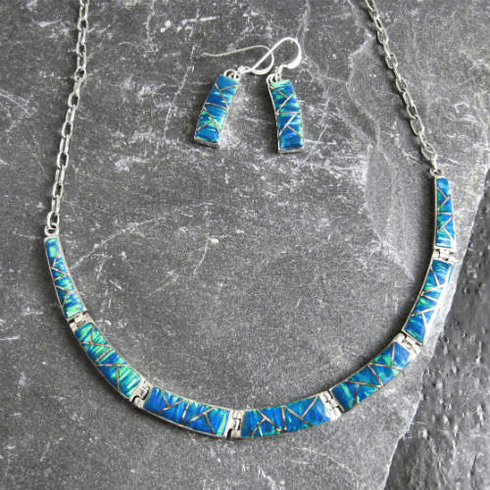Created Opal Necklace and Earrings Set