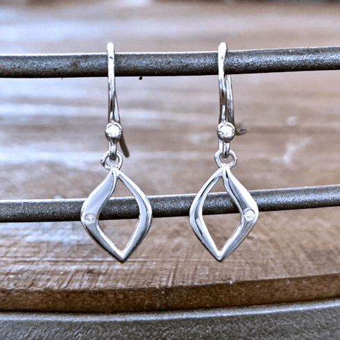 Diamond Marquise Loop Earrings