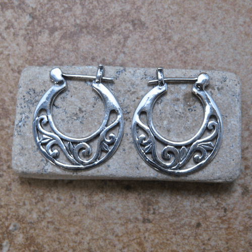 Filigree Cutout Flat Hoops