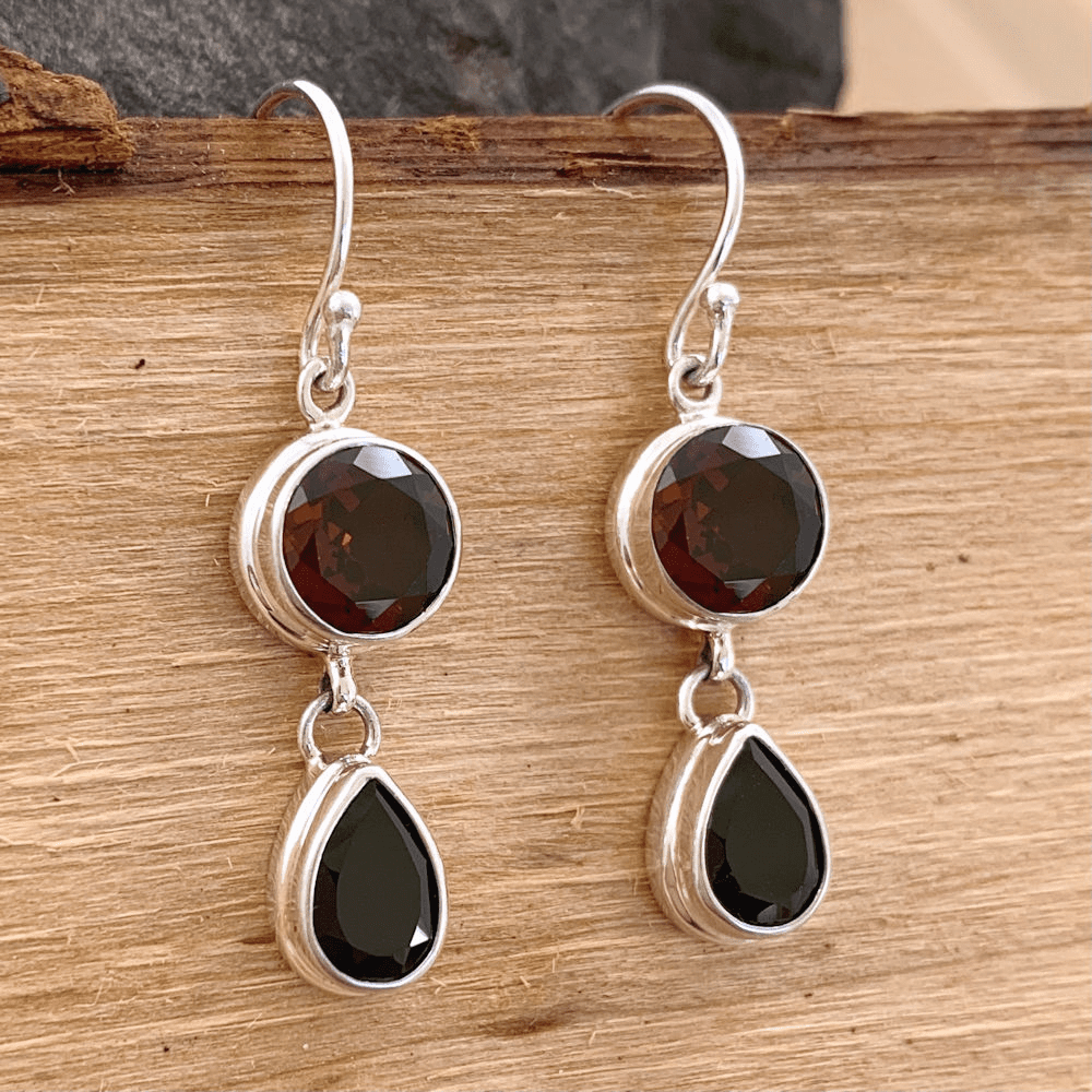 Garnet and Onyx Earrings