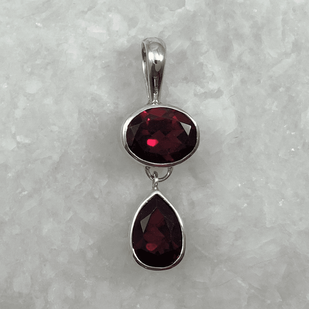 Garnet Oval and Teardrop Pendant