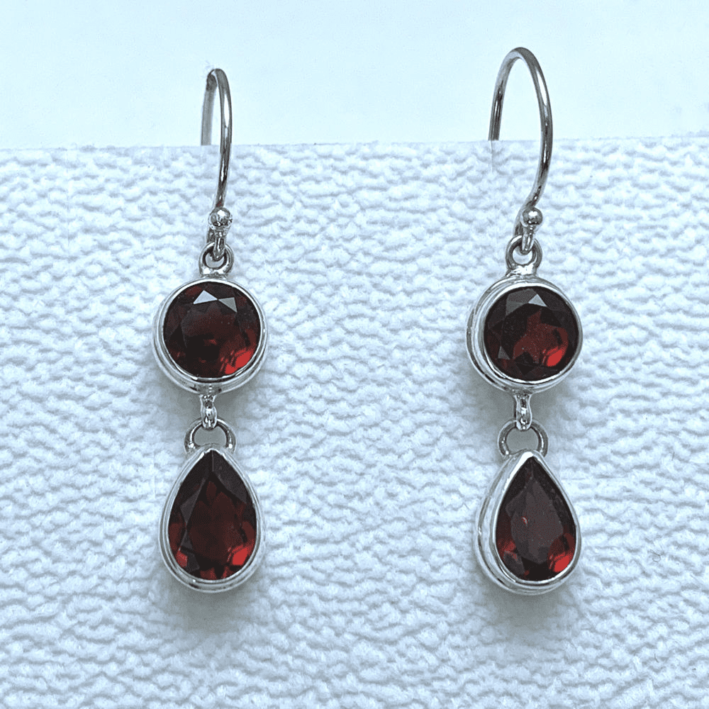 Garnet Round and Teardrop Earrings
