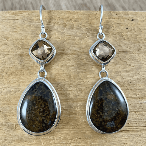 Gold Quartz and Fossil Earrings
