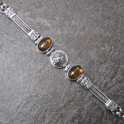 Indonesian Amber Filigree Disc Bracelet