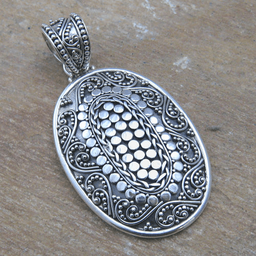 Indonesian Granulated and Filigree Oval Pendant