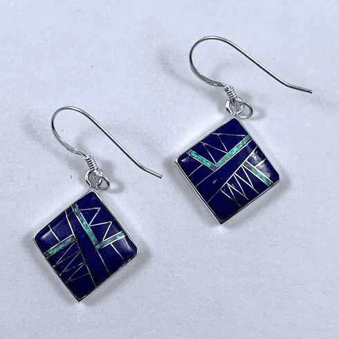 Lapis and Created Opal Earrings