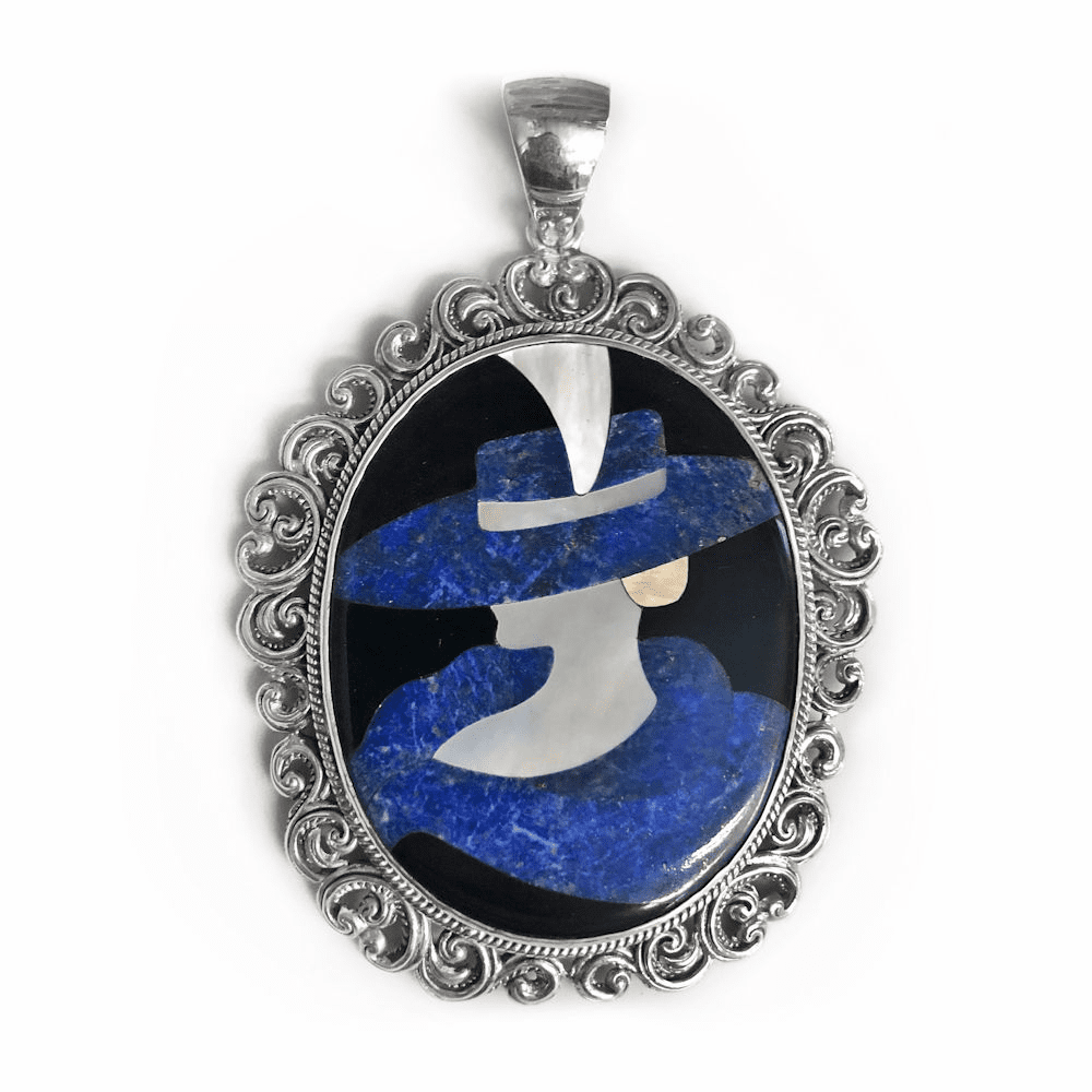 Lapis, Mother of Pearl & Onyx Deco Pendant