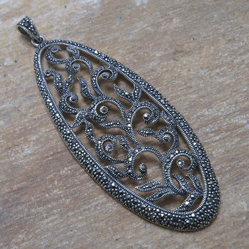 Large Oval Marcasite Open Vines Pendant