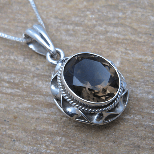 Large Oval Smoky Quartz Twist Bezel Pendant w/ Chain