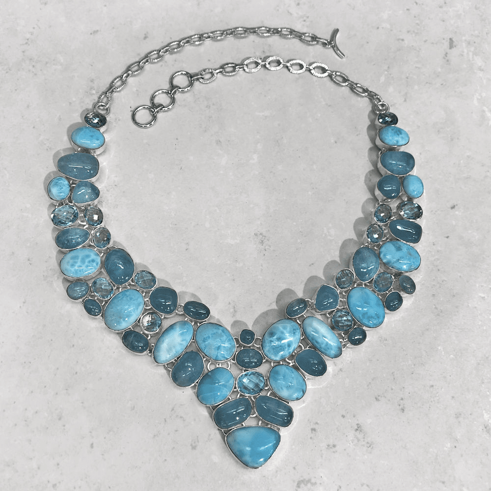 Larimar, Aquamarine & Blue Topaz Necklace