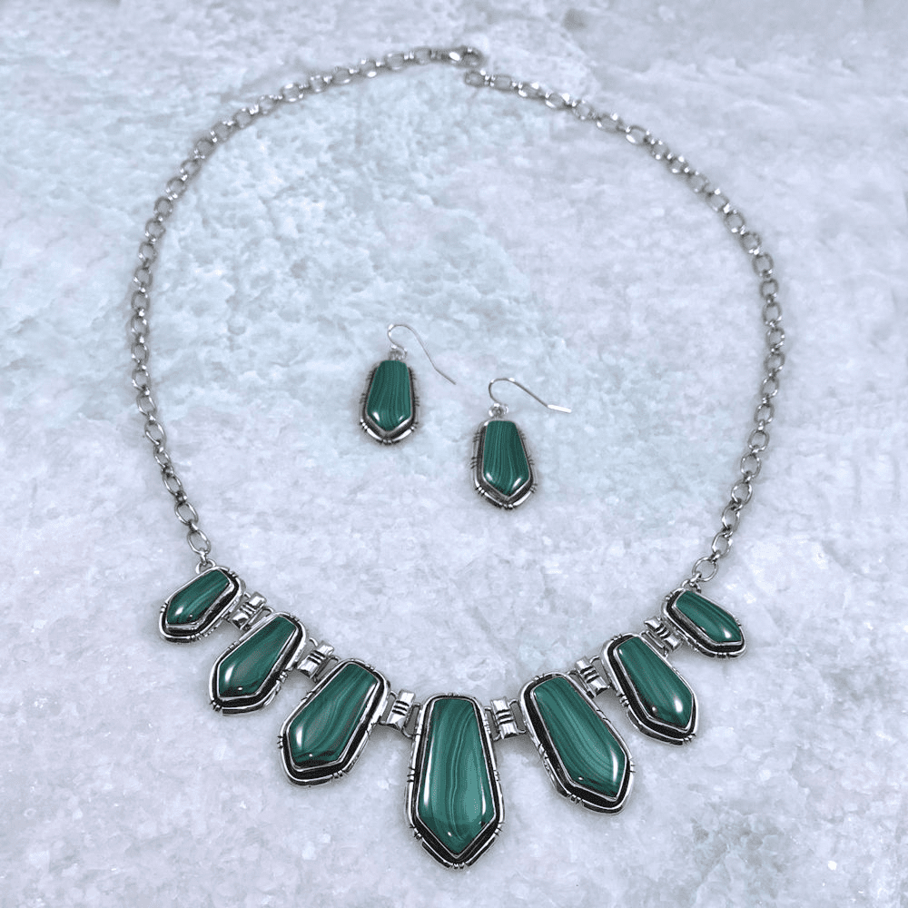 Malachite Navajo Necklace and Earrings Set