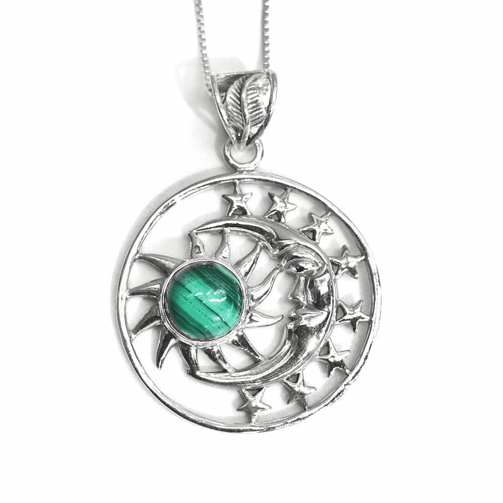 Malachite Sun and Moon Pendant