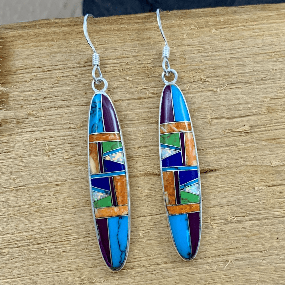 Multistone Long Oval Earrings