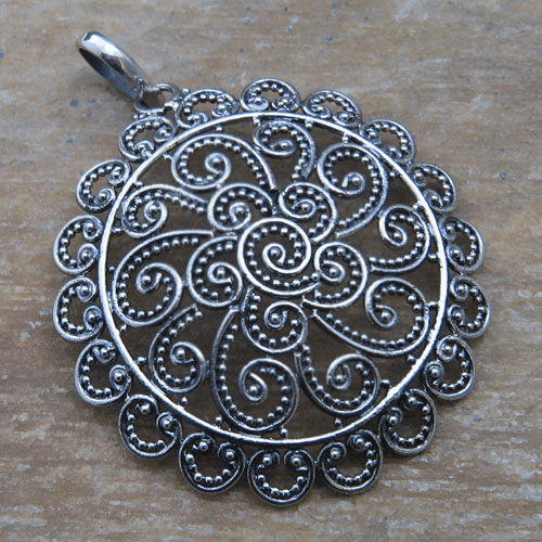 Open Filigree Scrolls Pendant