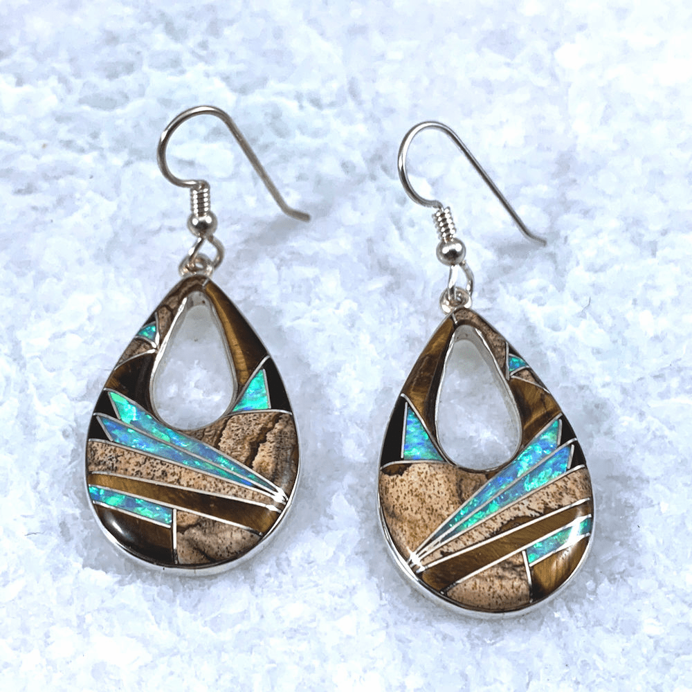 Open Teardrop Multistone Earrings