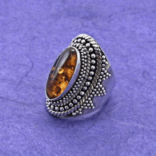Oval Amber Ring with Granulation