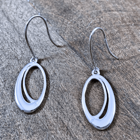 Oval Loop Diamond Earrings