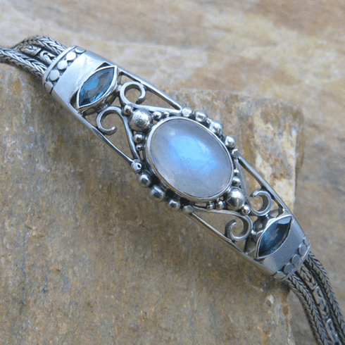 Oval Moonstone and Blue Topaz Toggle Bracelet