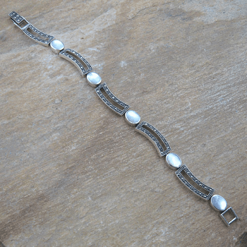 Oval Mother of Pearl and Marcasite Wavy Links Bracelet