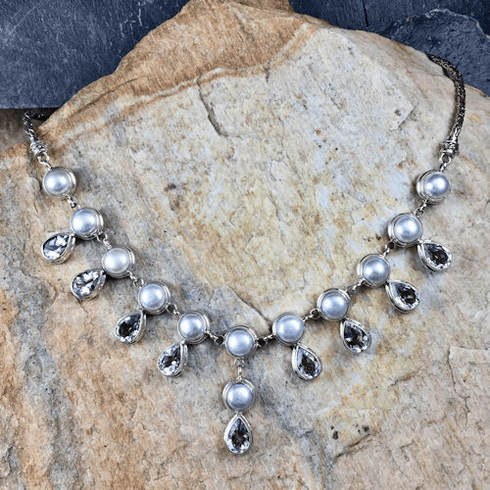 Pearl and White Topaz Necklace