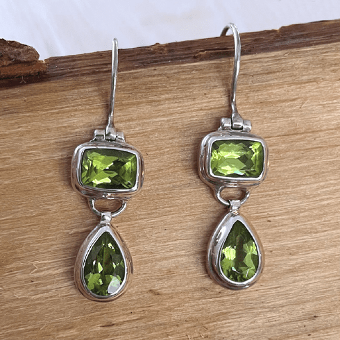 Peridot Rectangle and Teardrop Earrings
