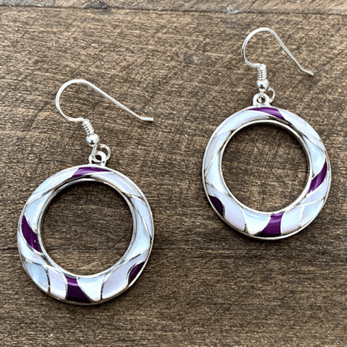 Pink and Purple Mother of Pearl Circle Earrings