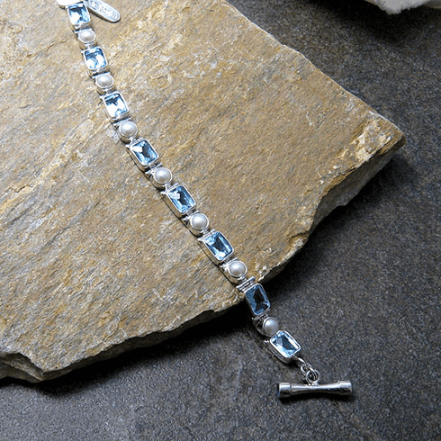 Rectangular Checker Cut Blue Topaz and Pearl Toggle Bracelet