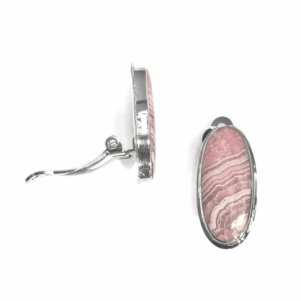 Rhodochrosite Clip On Earrings