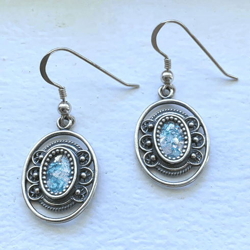 Roman Glass Oval Earrings