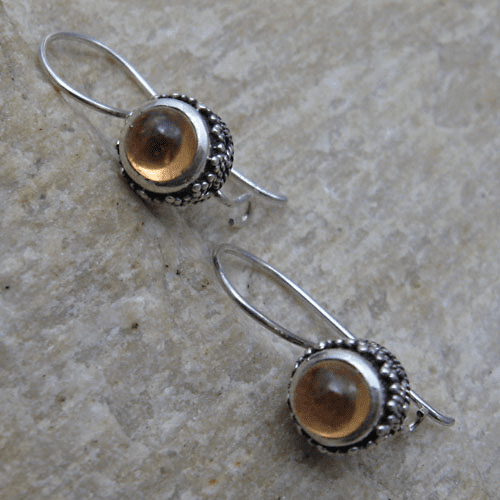 Round Cabochon Citrine Dangle Earrings with Granulated Setting