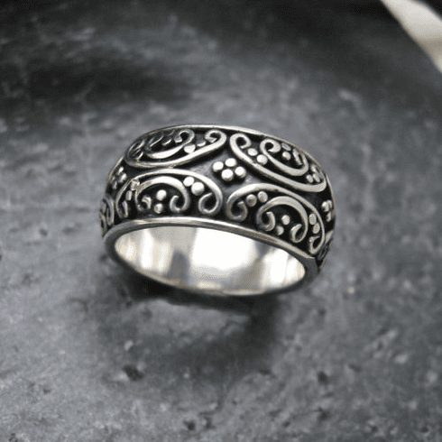 Silver Granulated Band Ring