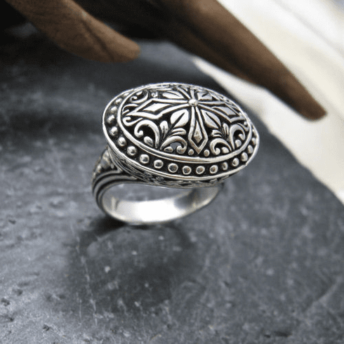 Silver Oval Filigree Ring
