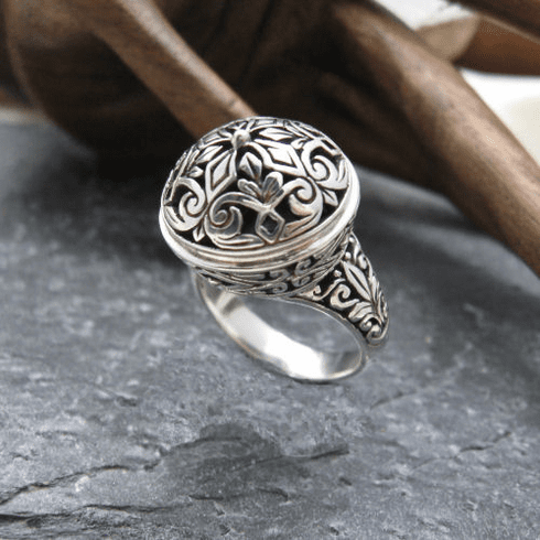 Silver Round Dome Top Open Filigree Ring