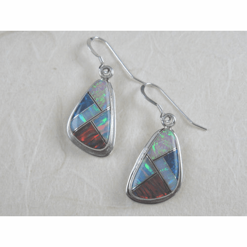 SS Multicolor Opal Inlay Triangular Dangles