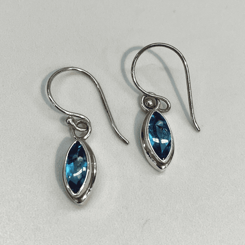Swiss Blue Topaz Marquise Earrings