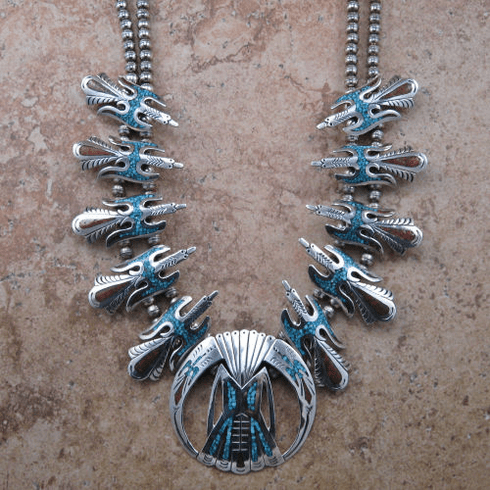 Thunderbird Mosaic Turquoise and Coral Necklace
