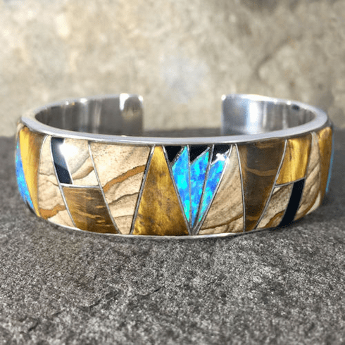 Tiger's Eye, Jasper, Onyx and Opal Cuff Bracelet
