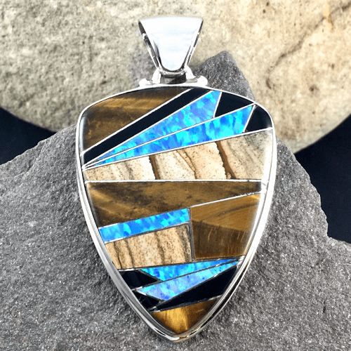 Tiger's Eye, Jasper, Onyx and Opal Pendant