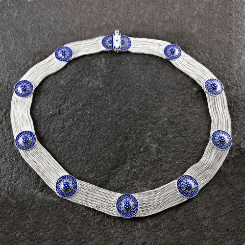 Turkish Eight Strand Blue Necklace