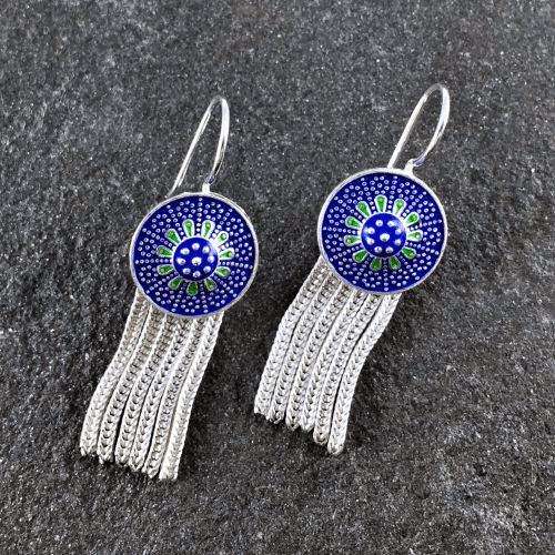Turkish Six Strand Blue Dangle Earrings