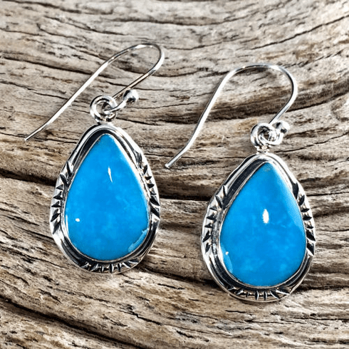Turquoise Teardrop Navajo Earrings
