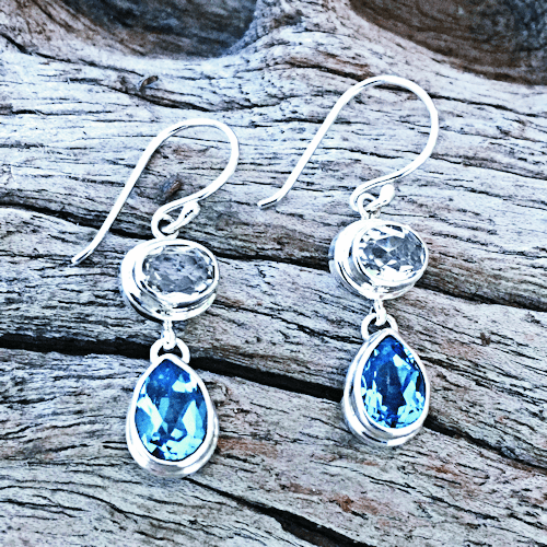 White and Blue Topaz Earrings