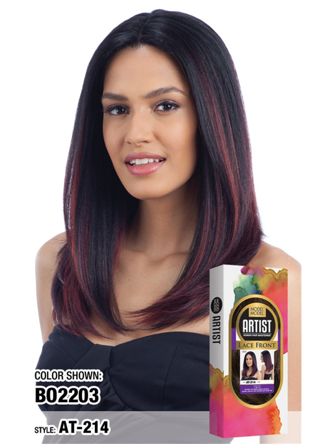 Model Model Artist Human Hair Blend Lace Front Wig AT-214