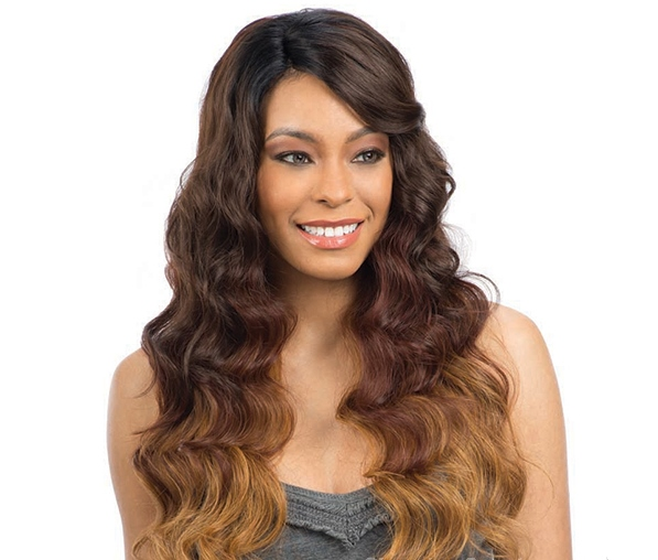 Model Model Synthetic Lace Deep Invisible L Part Lace Front Wig PERUVIAN NATURAL WAVE
