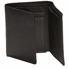 Plain Black Trifold Leather  Wallet