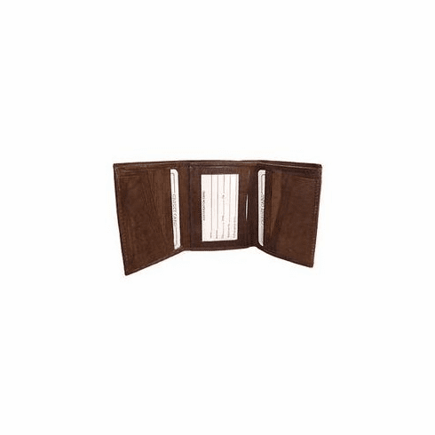Plain Brown Trifold Leather  Wallet
