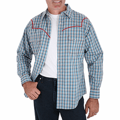 WRANGLER Grey/Teal/Red Long Sleeve Plainweave Plaid