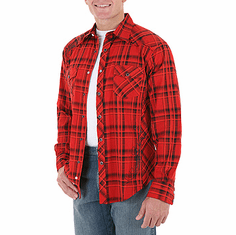 WRANGLER Red/Black Long Sleeve Satin Plaid